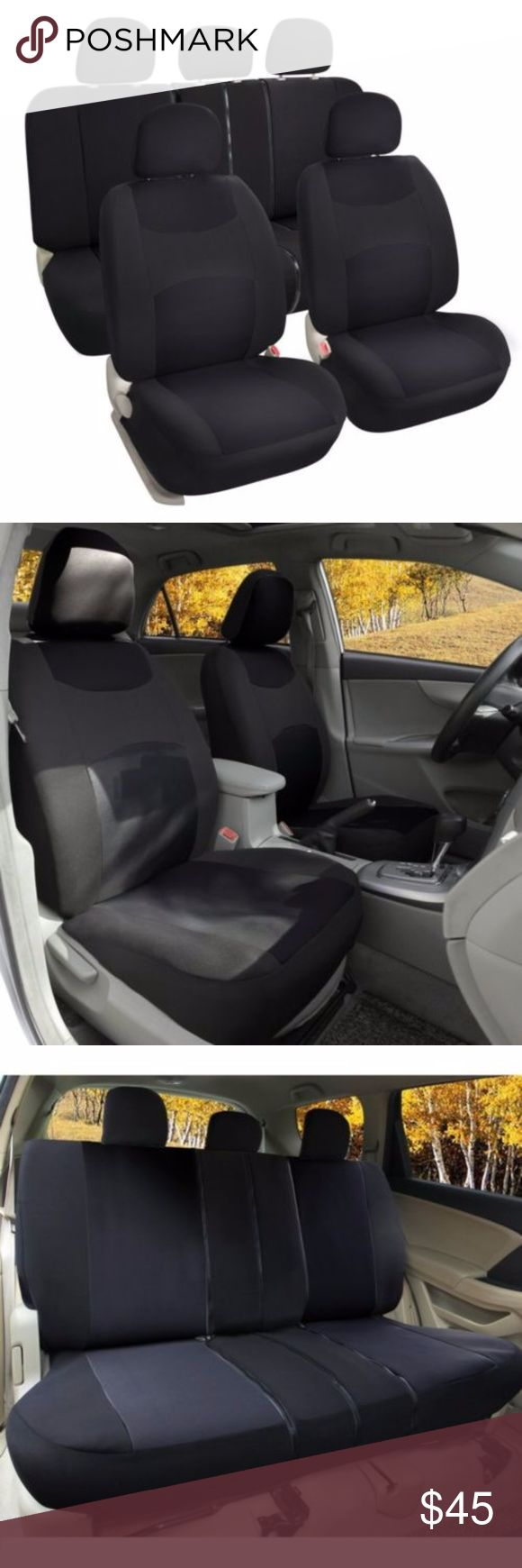 Bucket seat cover set airbag compatible black nwt