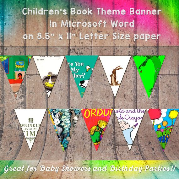 "Children's Book Themed Banner for Birthday Parties or Baby Showers on Letter Sized 8.5"" x 11"" paper in Microsoft Word High Resolution"