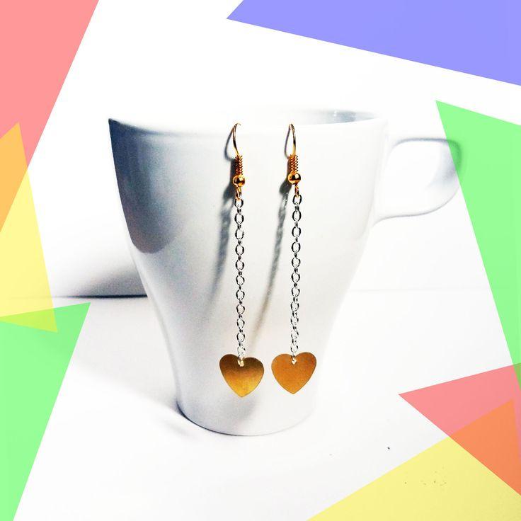 Boucles d'oreilles dorée argentées cœur minimalistes pendantes