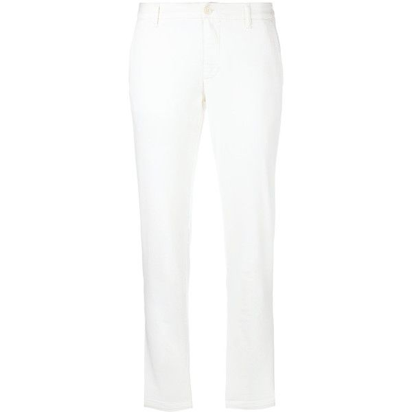 P.A.R.O.S.H. Cropped Trousers ($166) ❤ liked on Polyvore featuring pants, capris, cropped trousers, white crop pants, white trousers, cotton stretch pants and white pants