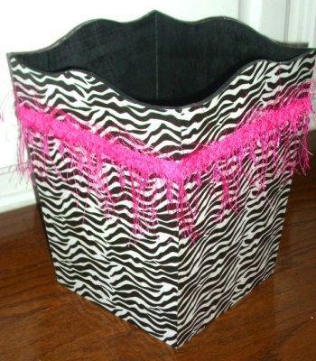 Zebra, Leopard, or Damask Print Hot Pink or Black Trim Trash Garbage Can Bathroom Bedroom Girls. $25.99, via Etsy.