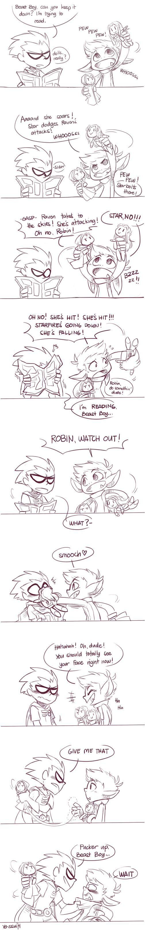 Beastboy & Robin, hanging around