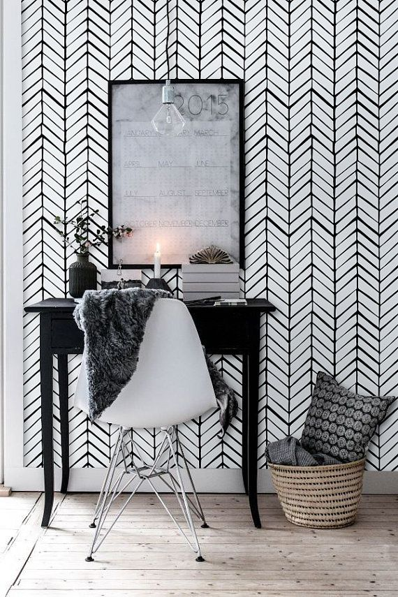 Self adhesive vinyl wallpaper - Chevron pattern print  - 026 WHITE/ MIDNIGHT