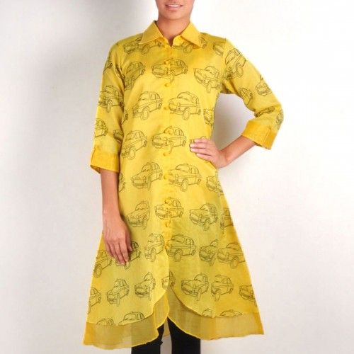 A fun and quirky tunic for a fashionable afternoon. This layered chanderi tunic has a stylish butterfly cut at the lower front along with a collared neck & potli buttons which adds a style statement to this bright yellow garment. It will look perfect for a brunch or mall shopping.