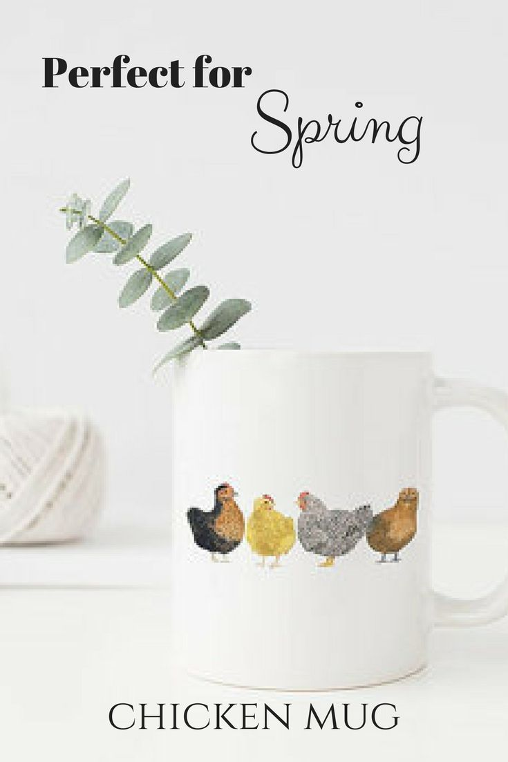 Etsy | Spring Chickens Mug | The perfect cup for spring! | Chickens Mug / Ceramic Mug / Farm Mug / Farmhouse Gifts / Gifts for Her / Backyard Chickens / Farmhouse Mug / Homestead Gifts / Urban Farm #chickens #chickencoop #farmhousekitchen #coffeemug #teatime #backyardchickens #affiliate