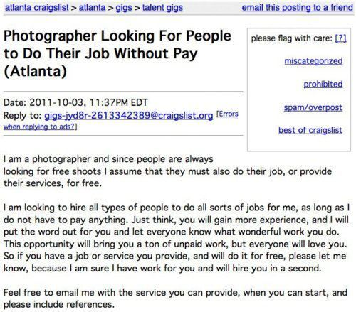 Hilarious Craigslist ad Photographer Looking For People to Do – Job of a Photographer