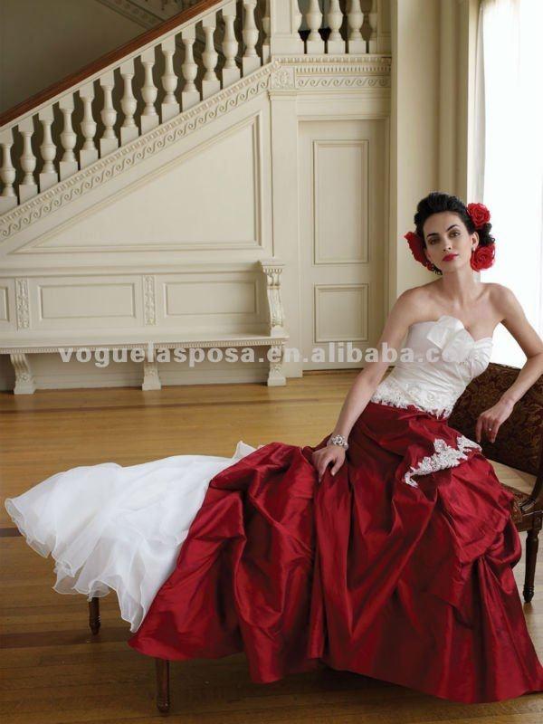 red white wedding dress
