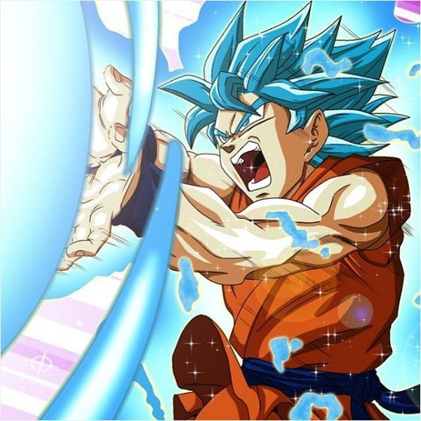 Goku will blow you away with his Kamehameha wave. SSJSS Goku from Dragon Ball Super.