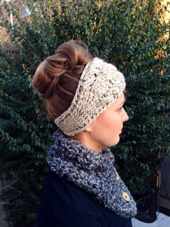 Cabled Earwarmer hand crocheted headband women's by DesignByEJ, $15.00
