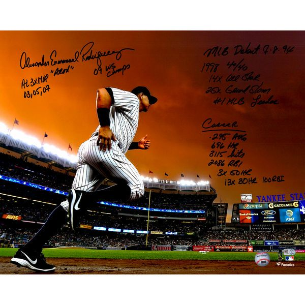 """Alex Rodriguez New York Yankees Fanatics Authentic Autographed 16"""" x 20"""" Final Game Running on to the Field Photograph with Career Stats Inscriptions - Limited Edition of 13 - $1499.99"""