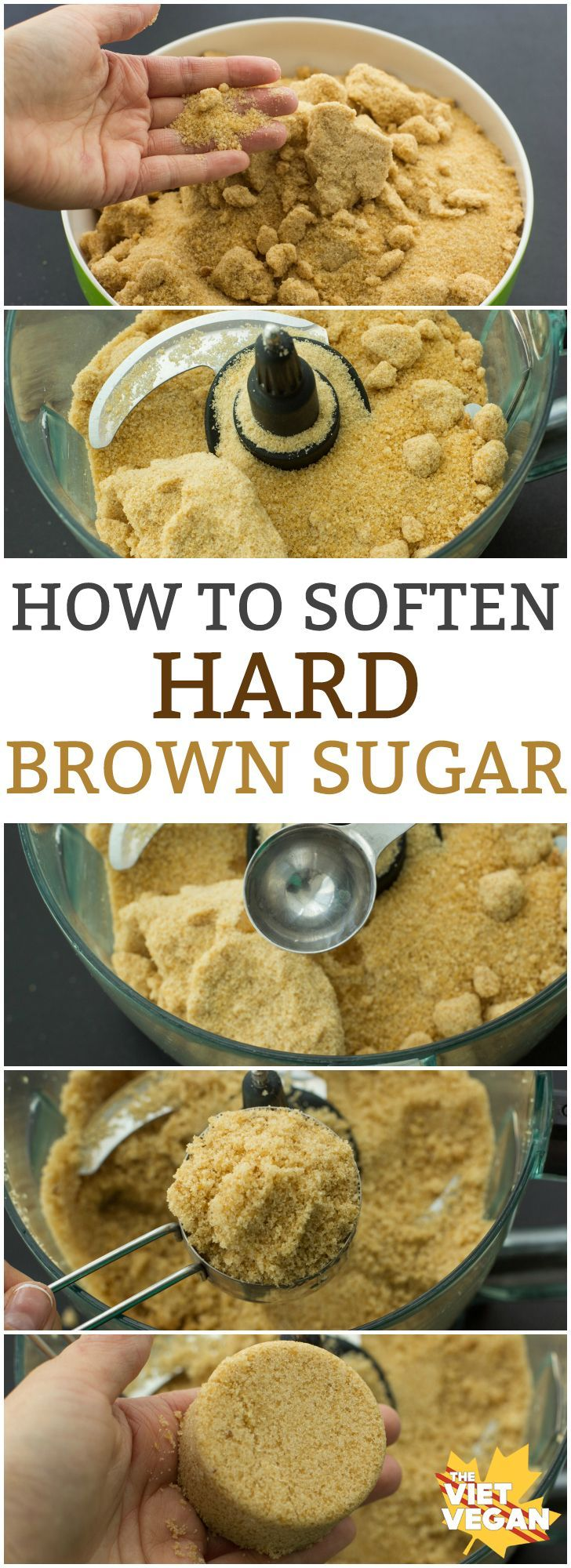 How to Soften Hard Brown Sugar | The Viet Vegan | All you need is 5 minutes and a food processor!