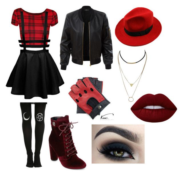 """""""8"""" by midnighthillzy on Polyvore featuring Hot Topic, WearAll, LE3NO, WithChic, Catherine Catherine Malandrino, Too Faced Cosmetics and Lime Crime"""