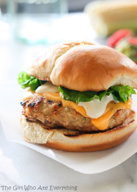 """ Cheddar Ranch Chicken Burgers Recipe here """
