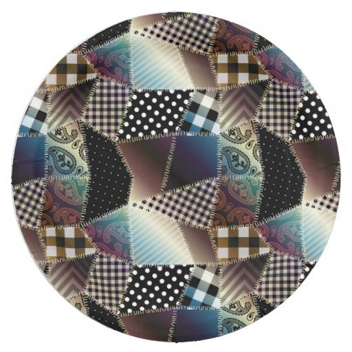 Patchwork Quilt Multicolored Gingham Paper Plate  sc 1 st  Pinterest : pink gingham paper plates - Pezcame.Com