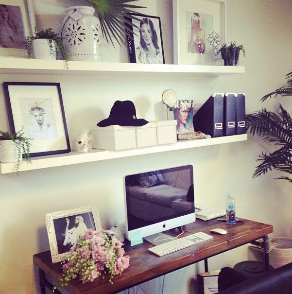 shelves above desk ideas for the house pinterest. Black Bedroom Furniture Sets. Home Design Ideas