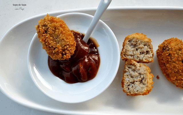 croquetas de carne picada, queso y arroz