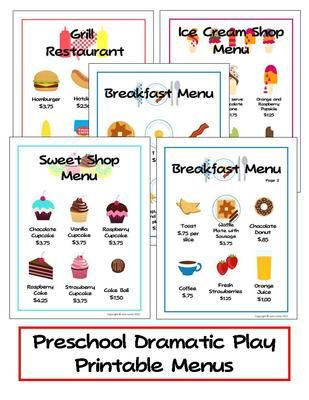 Preschool Dramatic Play Printable Menus from TeachingtheLittlePeople on TeachersNotebook.com (10 pages)