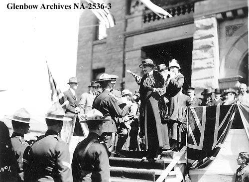 Mrs. James F. (Mary) Macleod with Mounted Police at an event at Calgary City Hall (n.d.) glenbow archives NA-2536-3