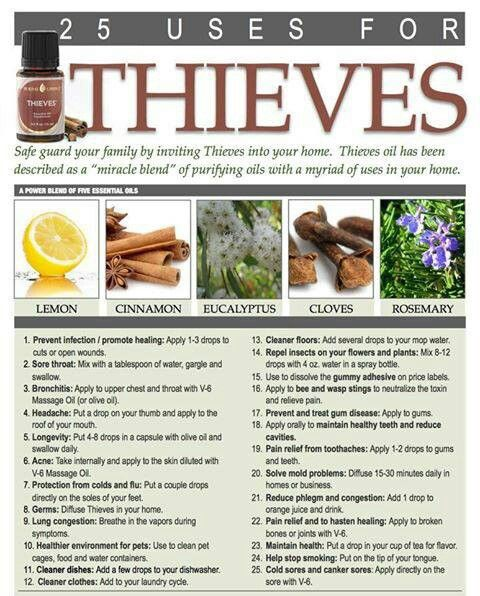 Thieves Oil-25 uses for thieves oil  Contact me T if you want to get any  To order https://www.youngliving.com/signup/?sponsorid=1447382&enrollerid=1447382