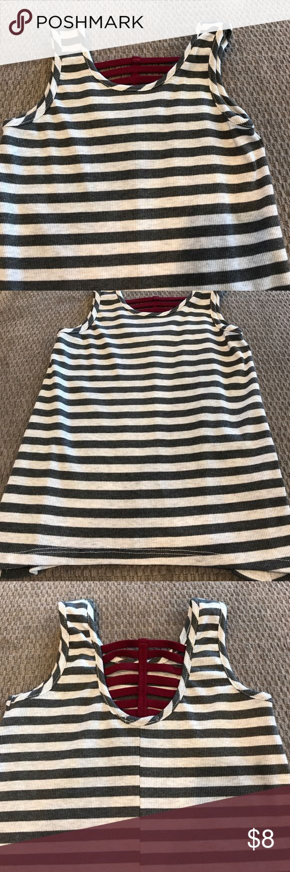 Girls gray striped tank top with Maroon back Girls gray striped tank top with Maroon back; size XS Full Tilt Shirts & Tops Tank Tops
