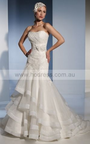 Mermaid Sleeveless Strapless Lace-up Floor-length Wedding Dresses feaf1071--Hodress