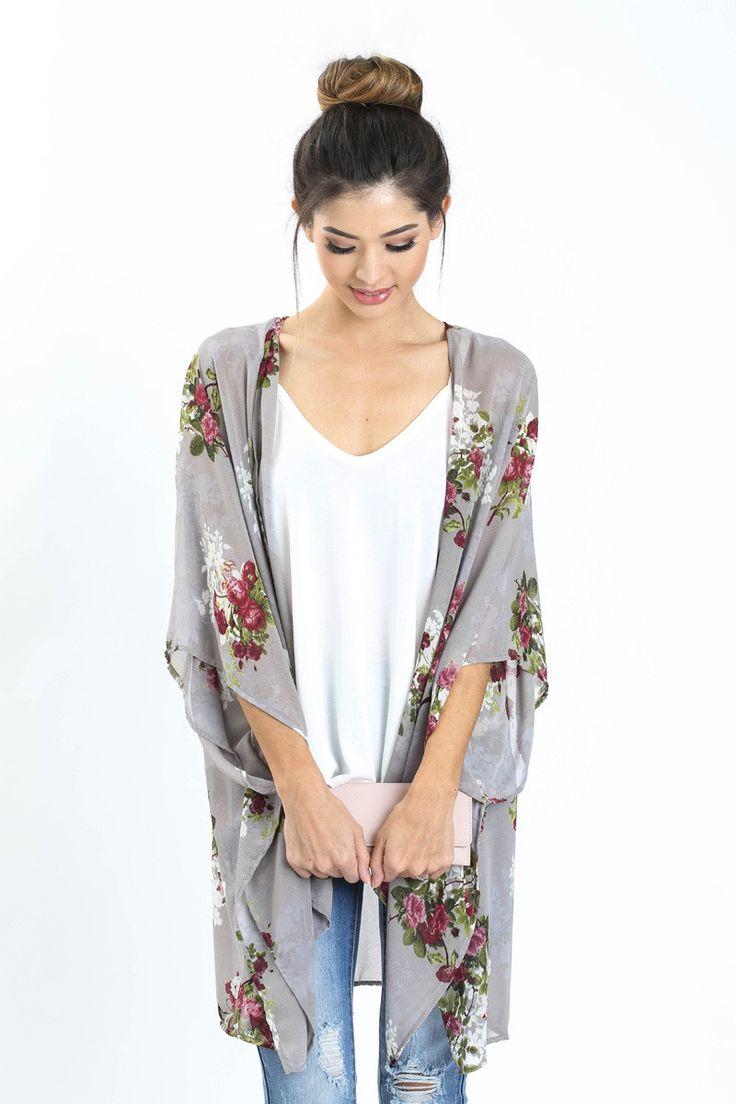 Sarah Lavender Floral Kimono - Morning Lavender $48.99