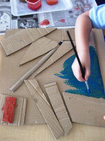 Cardboard Collages in Kinder   Art Lessons For Kids
