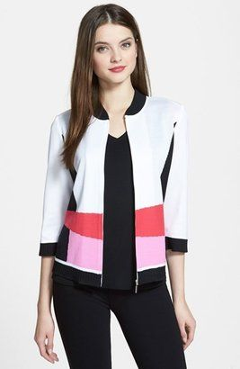 Ming Wang Colorblock Bomber Jacket