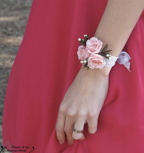 """DIY bracelet """"Romance"""" preserved flowers, lace bride bracelet with pure stabilized roses, witnesses and bridesmaids wedding ceremony floral items"""