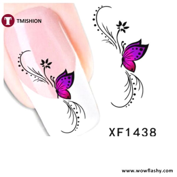 Multi Design Nail Stickers Wowflashy Com Nail Stickers Butterfly Tattoo On Shoulder Finger Nail Art