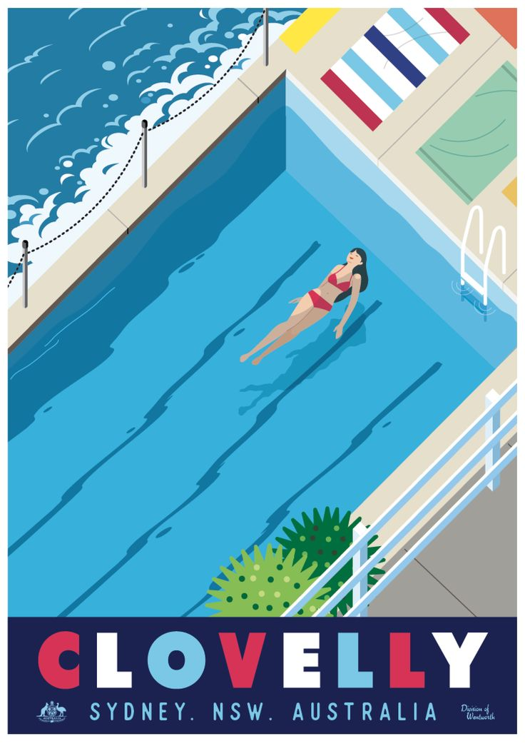 Clovelly Ocean Pool- Vintage style travel poster Sydney beaches in NSW Australia - Posters available from RussellTate.Com