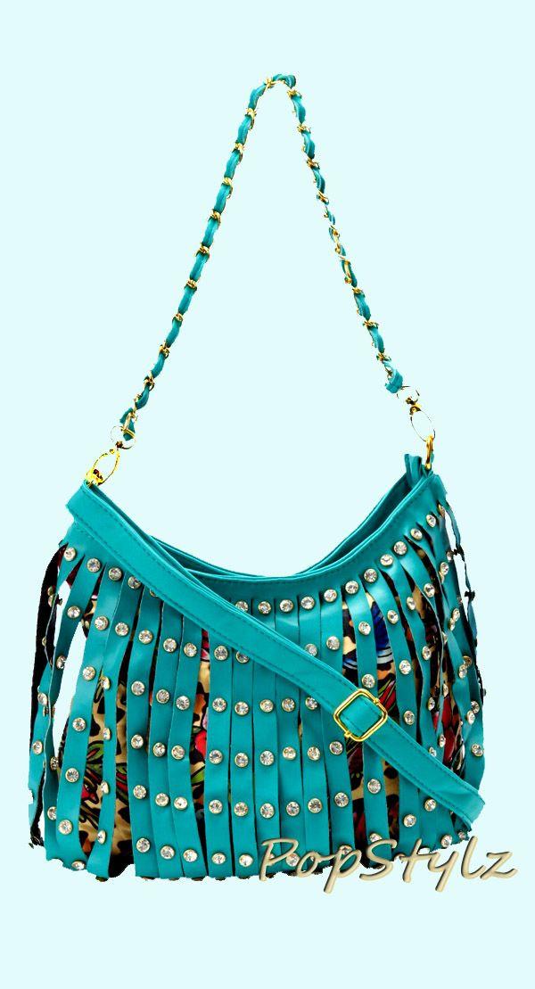 Iron Fist Bags Turquoise Strip Tease Shoulder Bag