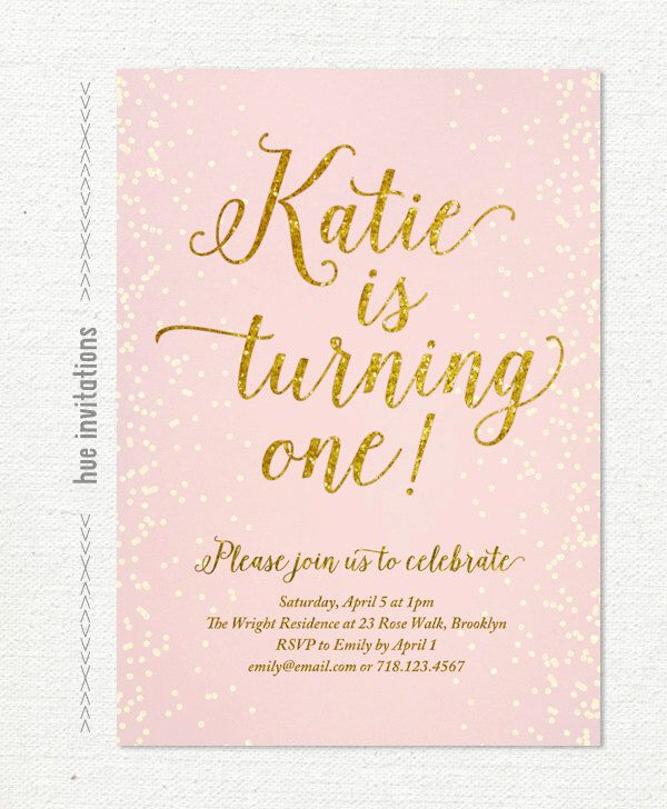 pink and gold glitter first birthday invitation for girl, blush pink birthday party invite, chic confetti printable digital invitation S1 by hueinvitations on Etsy https://www.etsy.com/listing/213201644/pink-and-gold-glitter-first-birthday