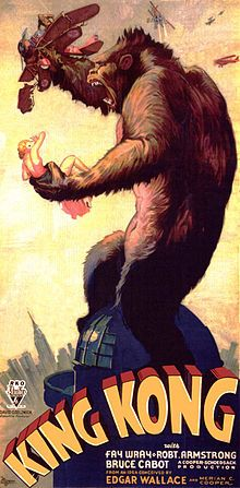 King Kong is a 1933 American Pre-Code fantasy monster/adventure film directed and produced by Merian C. Cooper and Ernest B. Schoedsack. The screenplay by James Ashmore Creelman and Ruth Rose was from an idea conceived by Cooper and Edgar Wallace. It stars Fay Wray, Bruce Cabot and Robert Armstrong, and opened in New York City on March 2, 1933 to rave reviews.
