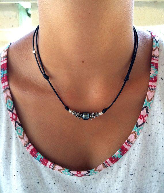 Perle de tahiti argent massif collier femme  cuir par PerlaMundi