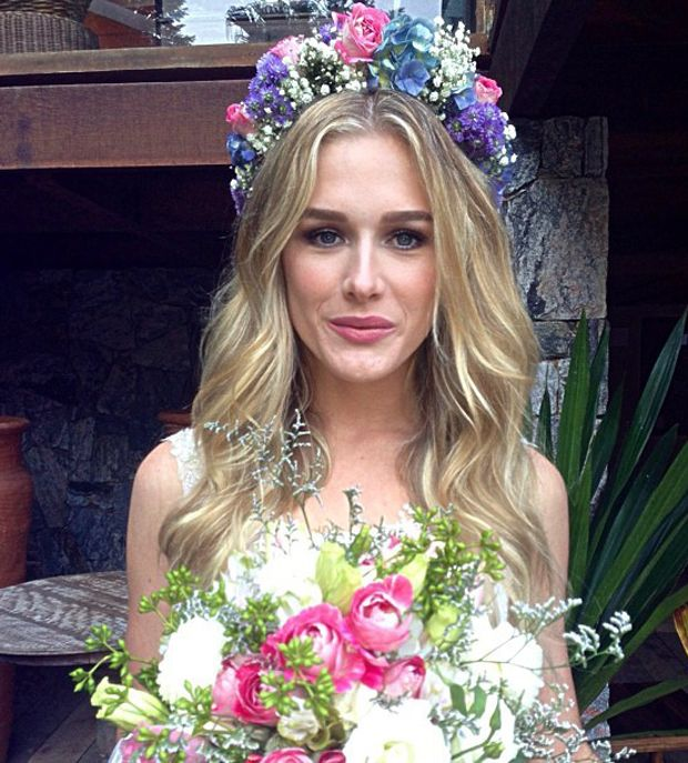 fiorella mattheis wedding; flower crown;