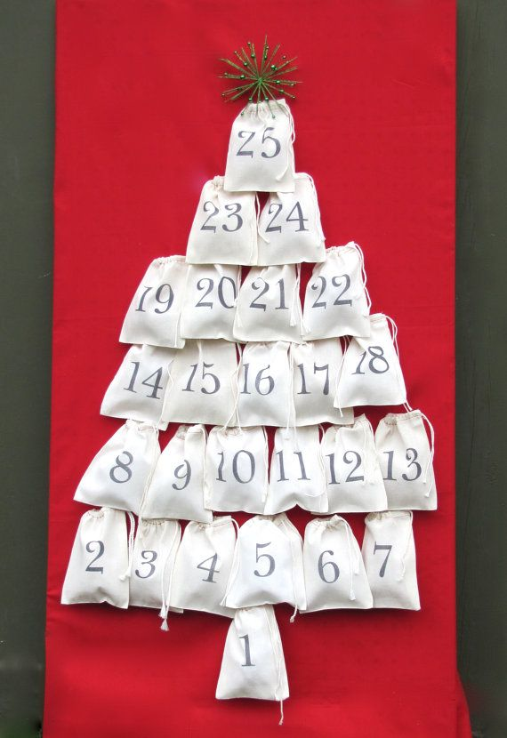 Advent Calendar stamped cloth bag advent by KiwiTiniCreations