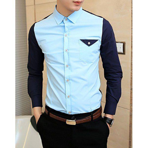 Unique And Fashionable Long Men: Fashionable Shirt Collar Unique Pocket Color Splicing Long