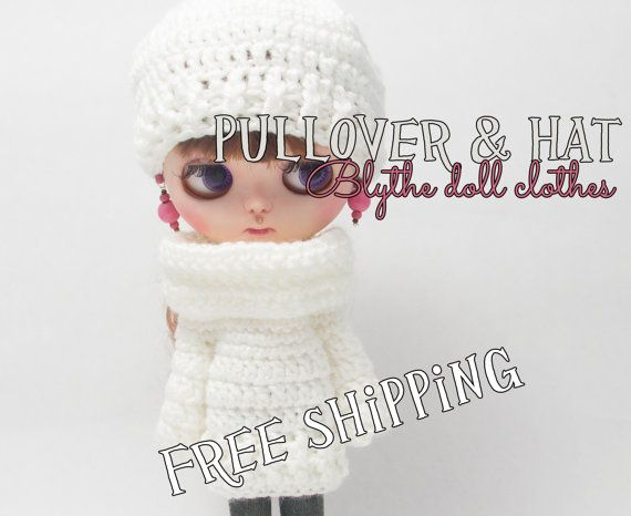 Blythe doll clothes pullover & hat snow white by Theordinarydiary