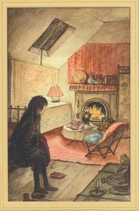 "illustration by Tasha Tudor...reminds me of ""The Little Princess"" in her secretly decorated attic"