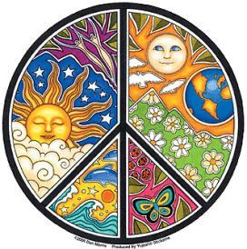 This beautiful peace symbol is a patchwork of art with celestial sun, stars and moon counterpointed with Earth and its wonders: clouds, flowers, a porpoise leaping through ocean waves, ladybugs and bu