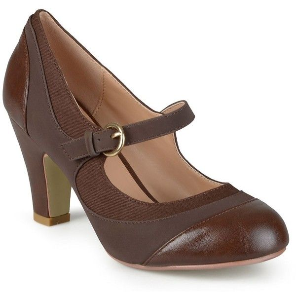 Journee Collection Siri Women's Mary Jane Heels ($55) ❤ liked on Polyvore featuring shoes, heels, brown, brown shoes, print shoes, two tone shoes, round toe shoes and brown mary jane shoes