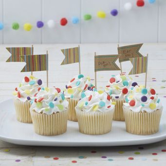 Make sure your cupcakes are as well dressed as your guests with these fun and bright cupcake toppers!