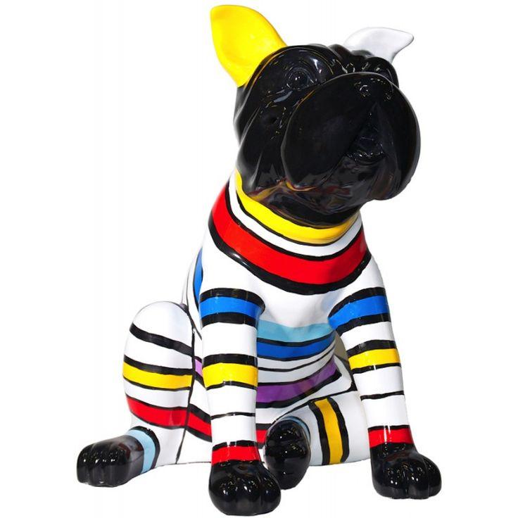 statue sculpture d corative design chien assis rayures en. Black Bedroom Furniture Sets. Home Design Ideas