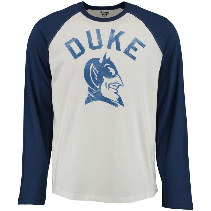 College Duke Blue Devils Arch Logo Vault 3/4-Sleeve Raglan T-Shirt - White/Royal