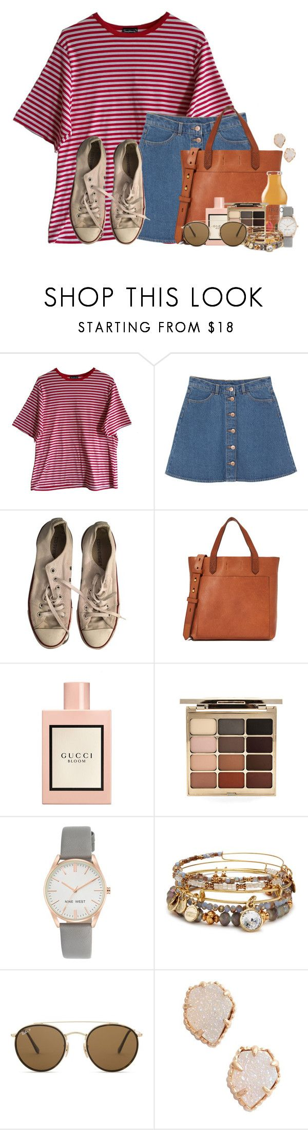 """""""Time to decorate for Christmas!"""" by victoriaann34 ❤ liked on Polyvore featuring Monki, Converse, Madewell, Gucci, Stila, Nine West, Alex and Ani, Ray-Ban and Kendra Scott"""