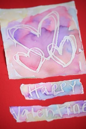 "WAX RESIST VALENTINES CARDS - Kids will love this fascinating process.  So fun and easy, and so exciting to see your art ""magically appear"" right before your eyes! - Happy Hooligans for CBC PARENTS"