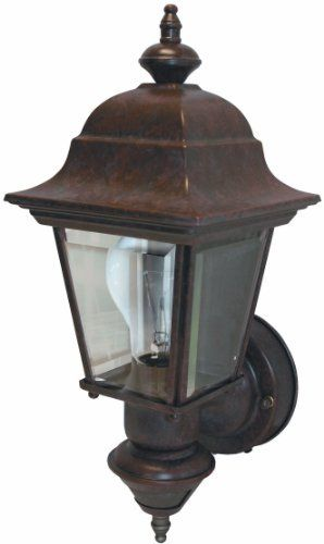 Heath/Zenith SL-4155-BR 150-Degree Motion-Activated Artisan Classic Style Decorative Lantern, Rustic Brown by Heath/Zenith. $57.15. From the Manufacturer                The SL-4155-BR features 150-degree motion detection up to 30 feet away. The lantern has clear beveled glass and is constructed of metal with a weather resistant finish. Uses 1 medium base incandescent bulb (100 watts max - not included). Features include DualBrite two-level lighting.                         ...