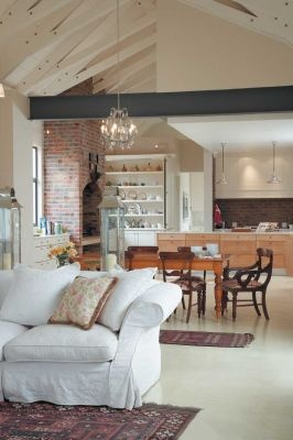 Love the beams, the screeded floors & the exposed brickwork