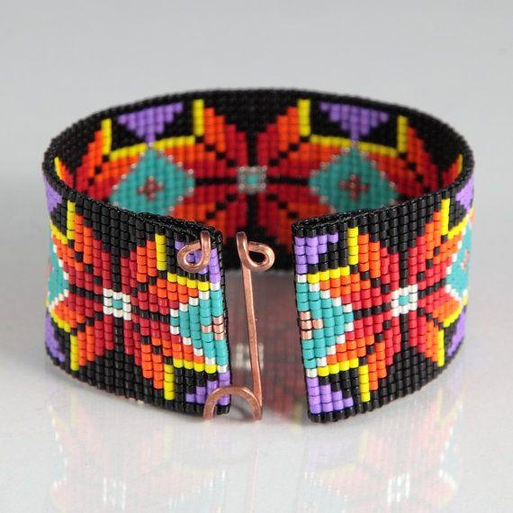 Nativos americano estilo Boho grano telar pulsera joyería